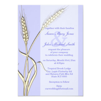 "Lavender cream country wheat outdoor 5"" x 7"" invitation card"