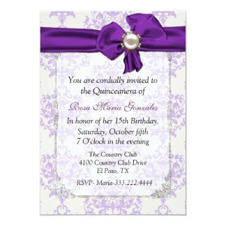 Lavender & Cream Damask Quinceañera Invitation