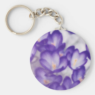 Lavender Crocus Flower Patch Keychain