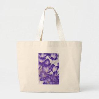 Lavender Crocus Flower Patch Large Tote Bag