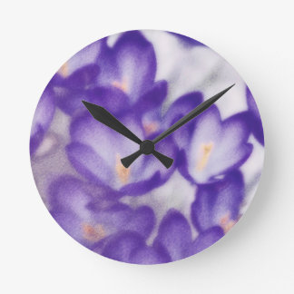 Lavender Crocus Flower Patch Round Clock
