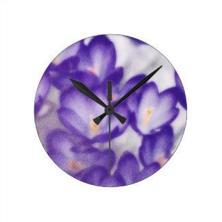Lavender Crocus Flower Patch Wallclock
