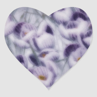Lavender Crocus Patch Heart Sticker