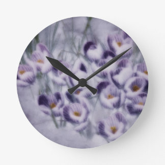 Lavender Crocus Patch Round Clock