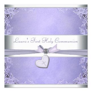 "Lavender Cross Girls Purple First Communion 5.25"" Square Invitation Card"