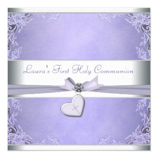 Lavender Cross Girls Purple First Communion 5.25x5.25 Square Paper Invitation Card