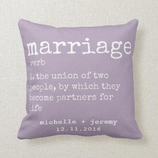 Lavender Custom Couple's Definition Wedding Pillow