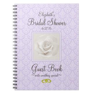 Lavender Damask and Rose Bridal Shower Guest Book