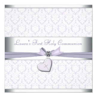 "Lavender Damask Cross Girls Purple First Communion 5.25"" Square Invitation Card"