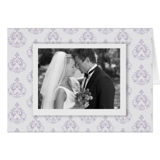 Lavender Damask Photo Thank you Card