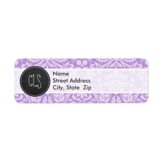 Lavender Damask; Vintage Chalkboard look Return Address Label