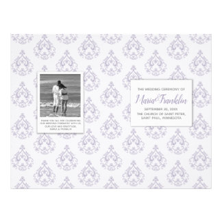 Lavender Damask Wedding Program Flyer