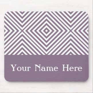 Lavender Diamond Chevron with custom name Mouse Pad