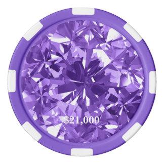 Lavender Diamond Gem Stone Poker Chip Stripe Edge