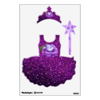 Lavender Diamond Rose Purple Faux Glitter Bling Wall Decal