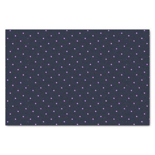 Lavender Dots Pattern On Dark Blue Tissue Paper