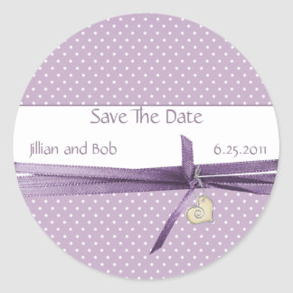 Lavender Dotted Swiss Save The Date Sticker