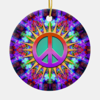 Lavender Dreams Groovy Peace Sign Ornament