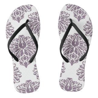 Lavender Elegant Damask Flip Flops