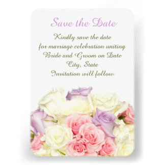 Lavender Elegant Rose Bouquet Save the date Personalized Invitation