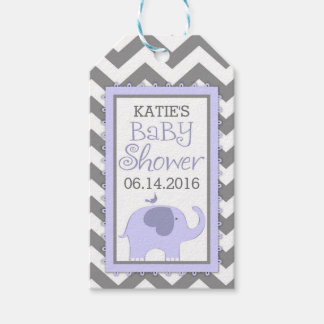 Lavender Elephant Bird Chevron Baby Shower Pack Of Gift Tags