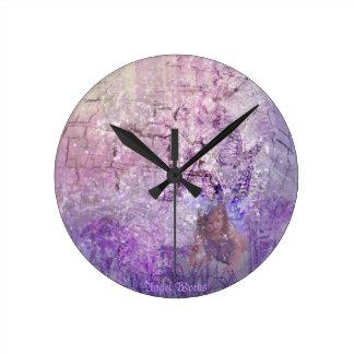 Lavender Fairy Round Clock