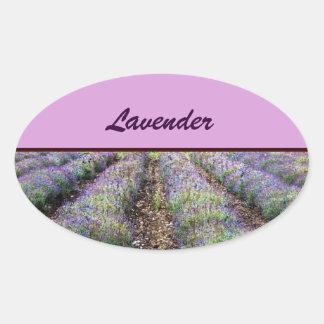 lavender farm field oval sticker
