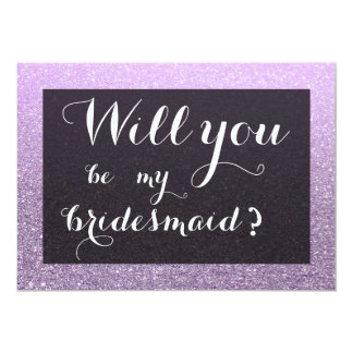 Lavender Faux Glitter Will You Be My Bridesmaid Card