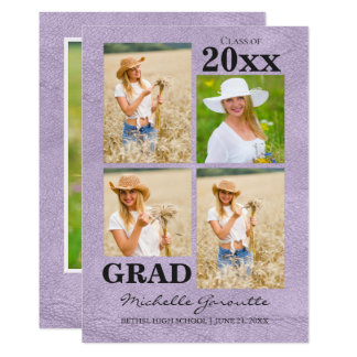 Lavender Faux Leather Photo Graduation Card