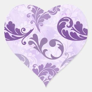 Lavender, Feather, Purple, Feathers, Elegant Heart Sticker