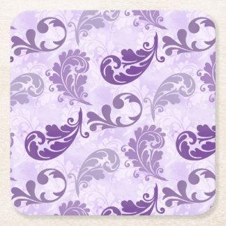 Lavender, Feather, Purple, Feathers, Elegant Square Paper Coaster