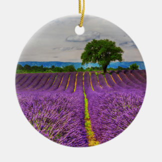 Lavender Field scenic, France Round Ceramic Ornament