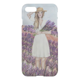 Lavender Field Watercolor Fashion Illustration iPhone 8/7 Case