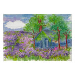 Lavender Fields Country Cabin Watercolor Painting Poster