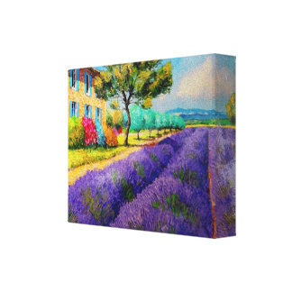 Lavender Fields n Provence Watercolor Canvas Print