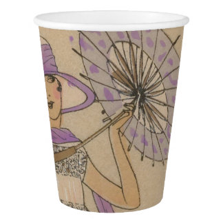 Lavender Flapper Girl With Parasol Paper Cup