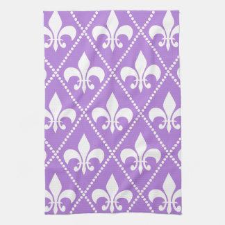 Lavender Fleur de Lis Kitchen Towel