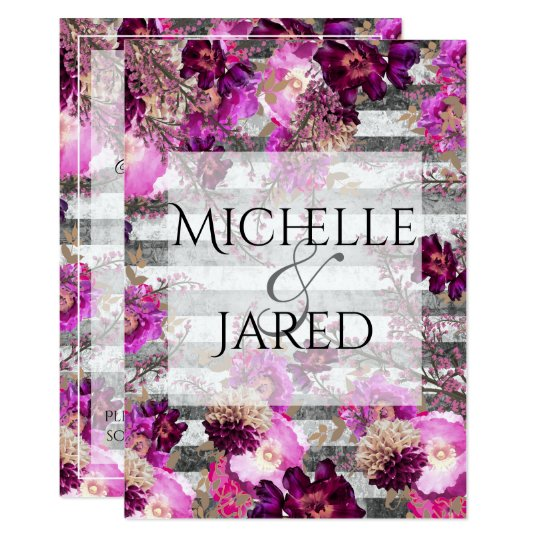 Lavender Floral and Grey Stripes Card