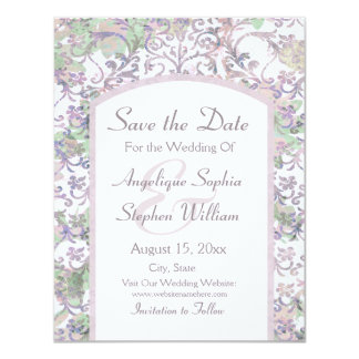 Lavender Floral Damask Save the Date Card