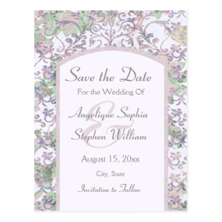 Lavender Floral Damask Save the Date Postcard