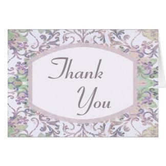 Lavender Floral Damask Thank You Card