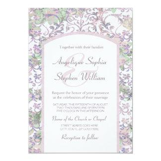 Lavender Floral Damask Wedding Card