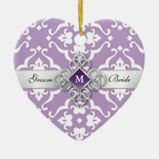 Lavender Floral Damask Wedding Keepsake Ceramic Heart Ornament