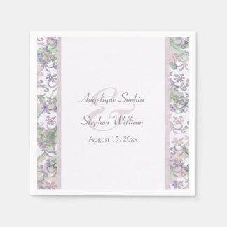 Lavender Floral Damask Wedding Paper Napkin