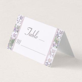 Lavender Floral Damask Wedding Place Card