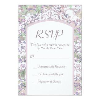 Lavender Floral Damask Wedding RSVP Card