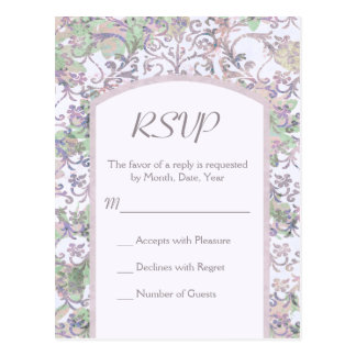 Lavender Floral Damask Wedding RSVP Postcard