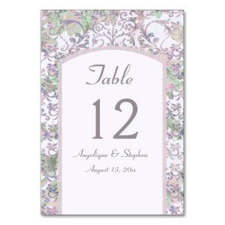 Lavender Floral Damask Wedding Table Card