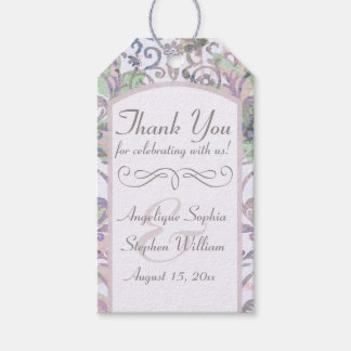 Lavender Floral Damask Wedding Thank You Gift Tags
