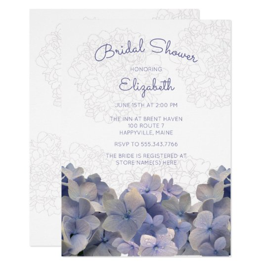 Lavender Floral Hydrangea Bridal Shower Invitation
